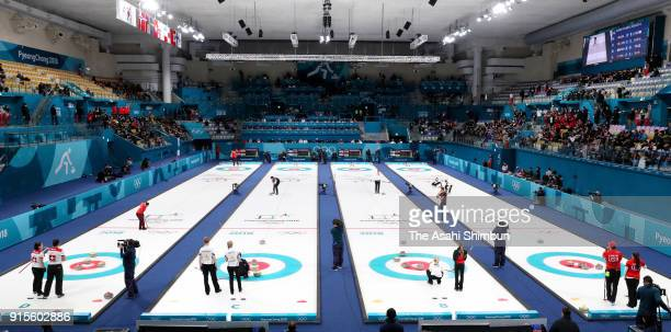 A general view during the Curling Mixed Doubles Round Robin Session during the PyeongChang 2018 Winter Olympic Games at Gangneung Curling Centre on...