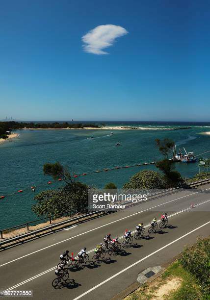 A general view during the Cycling Road Race Test Event along Currumbin Bay on October 29 2017 in the Gold Coast Australia The Road Race is a test...