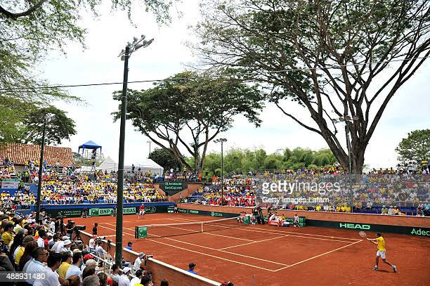 General view during the Davis Cup World Group Playoff singles match between Santiago Giraldo of Colombia and Taro Daniel of Japan at Club Campestre...