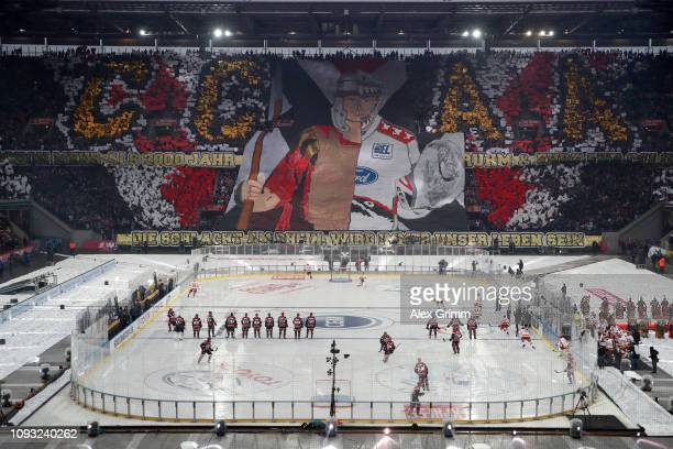 A general view during the DEL Winter Game between Koelner Haie and Duesseldorfer EG at RheinEnergieStadion on January 12 2019 in Cologne Germany