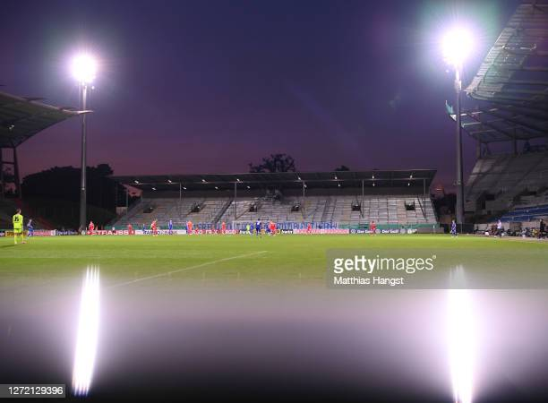 General view during the DFB Cup first round match between Karlsruher SC and 1. FC Union Berlin at Wildparkstadion on September 12, 2020 in Karlsruhe,...