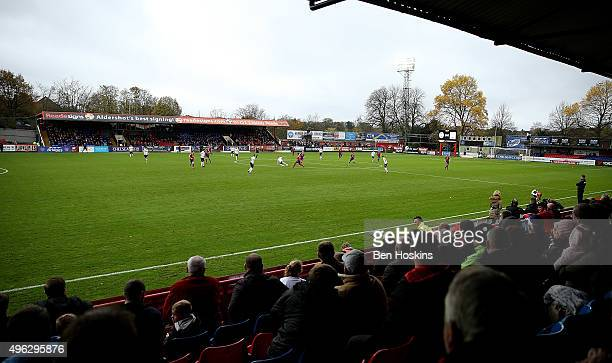 A general view during The Emirates FA Cup First Round match between Aldershot Town and Bradford City on November 8 2015 in Aldershot England