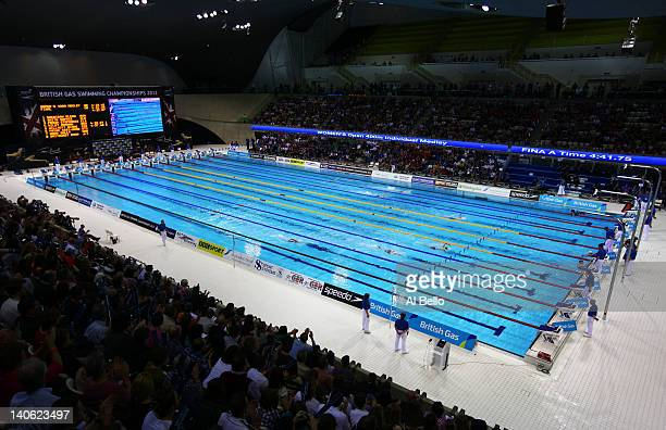 General view during the evening session on day one of the British Gas Swimming Championships at the London Aquatics Centre on March 3, 2012 in...