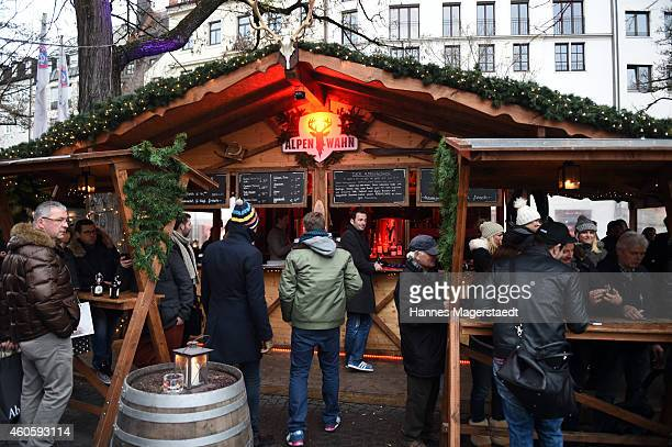 General view during the event 'Heino serves mulled wine for charity' at Alpenwahn nearby the Viktualienmarkt on December 17 2014 in Munich Germany