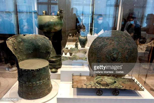 """General view during the exhibition preview of """"The Princely Tombs Of Palestrina"""" in Villa Poniatowski, discovered in the 19th century and added to..."""