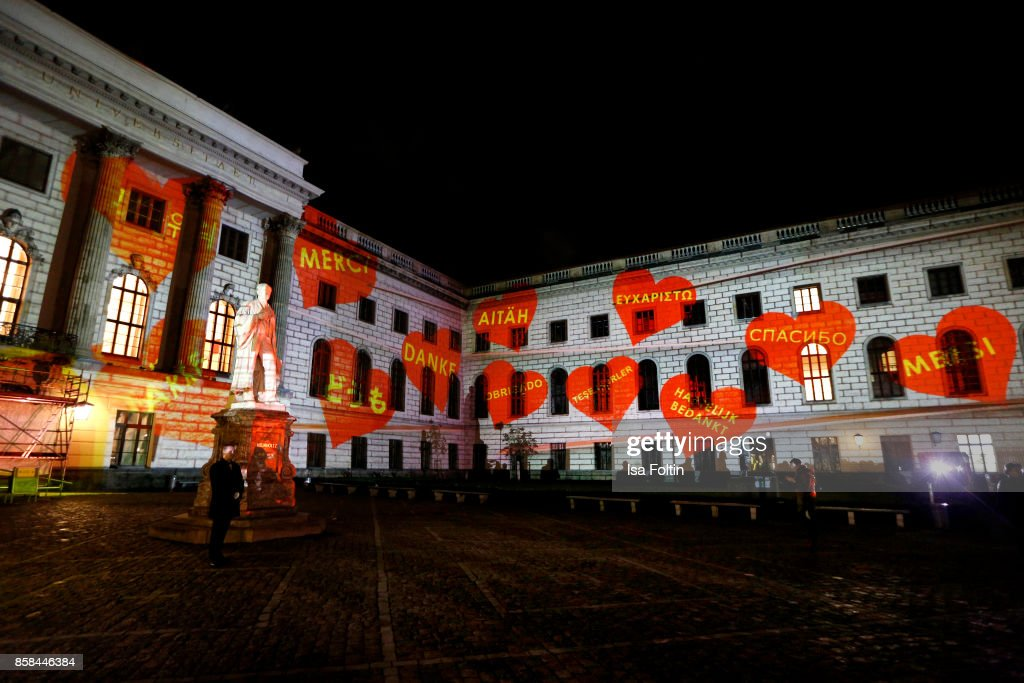 General view during the Festival of Lights at Humboldt University on October 6, 2017 in Berlin, Germany. From October 6 till October 15 there will be a light installation on the front of the Humboldt University in Berlin along with other installations around the City. McDonald's Germany celebrates the 30th anniversary of the Ronald McDonald House Charities in Germany.