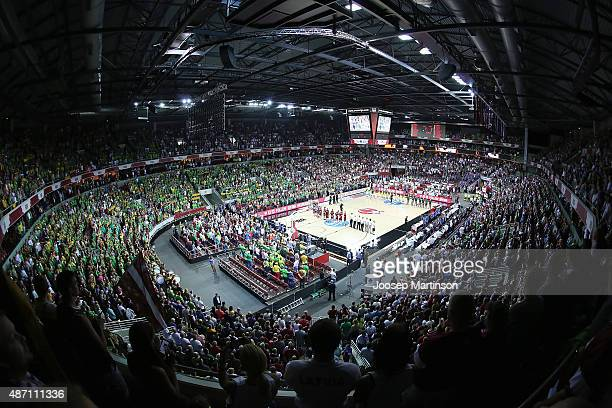 A general view during the FIBA EuroBasket 2015 Group D basketball match between Latvia and Lithuania at Arena Riga on September 6 2015 in Riga Latvia