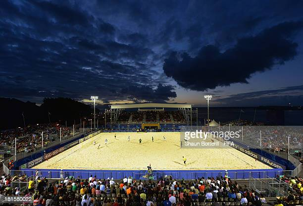 General view during the FIFA Beach Soccer World Cup Tahiti 2013 Group B match between Solomon Islands and Argentina at the Tahua To'ata stadium on...