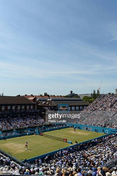 A general view during the final between Novac Djokovic of Serbia and Marin Cilic of Croatia on Day Seven of the FeverTree Championships at Queens...