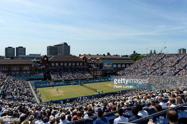 General view during the final between Novac Djokovic of Serbia and Marin Cilic of Croatia on Day Seven of the Fever-Tree Championships at Queens Club...