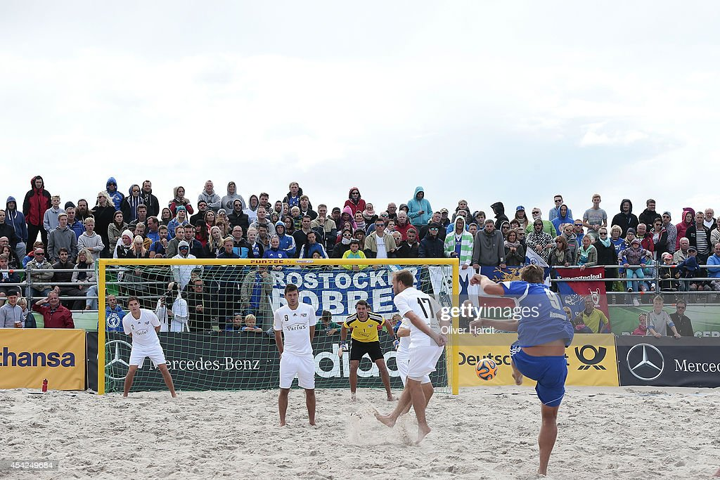 A general view during the final match between BST Chemnitz and Rostocker Robben on day one of the DFB Beachscoccer Cup at the beach of Warnemunde on August 24, 2014 in Warnemunde, Germany.