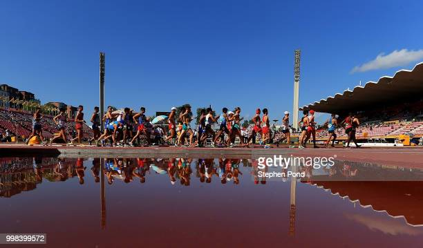 General view during the final of the men's 10,000m walk on day five of The IAAF World U20 Championships on July 14, 2018 in Tampere, Finland.