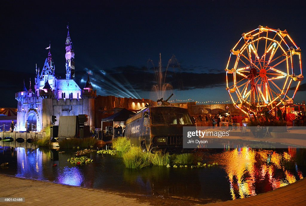 A general view during the final weekend closing party of Dismaland on September 25, 2015 in Weston-Super-Mare, England. Graffiti artist Banksy opened the subversive, pop-up 'Bemusement Park' exhibition at the derelict seafront Tropicana lido for five weeks, attracting 150,000 visitors.