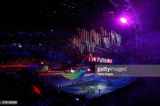 A general view during the finale of the Closing Ceremony of the 2014 Paralympic Winter Games at Fisht Olympic Stadium on March 16 2014 in Sochi Russia