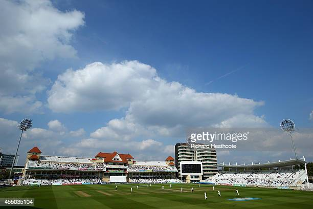 General view during the first day of the LV County Championship match between Nottinghamshire and Yorkshire at Trent Bridge on September 9, 2014 in...