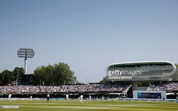 A general view during the first day of the third Investec Test Match between England and Sri Lanka at Lord's cricket ground in London on June 9 2016...