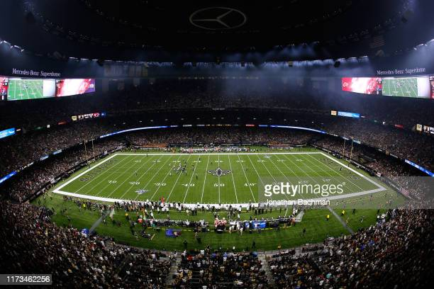 General view during the first half of a game between the New Orleans Saints and the Houston Texans at the Mercedes Benz Superdome on September 09,...