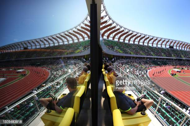 General view during the first heat of the Women's 800 Meters during day eight of the 2020 U.S. Olympic Track & Field Team Trials at Hayward Field on...