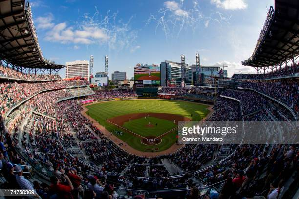 General view during the first inning of Game Five of the National League Division Series between the Atlanta Braves and the St. Louis Cardinals at...