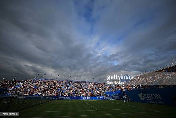 A general view during the first round match between Richard Gasquet of France and Steve Johnson of The USA on day one of the Aegon Championships at...