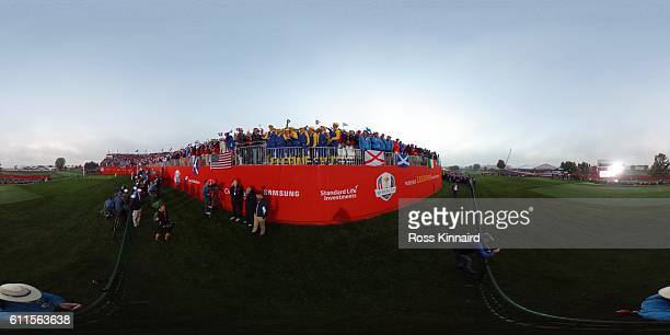 A general view during the first tee of the morning foursome matches of the 2016 Ryder Cup at Hazeltine National Golf Club on September 30 2016 in...