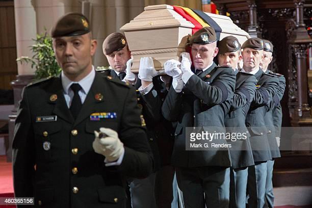 General view during the funeral of Queen Fabiola of Belgium at Notre Dame Church on December 12, 2014 in Laeken, Belgium.