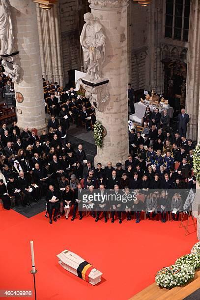 General view during the funeral of Queen Fabiola of Belgium is held at Notre Dame Church on December 12, 2014 in Laeken, Belgium.