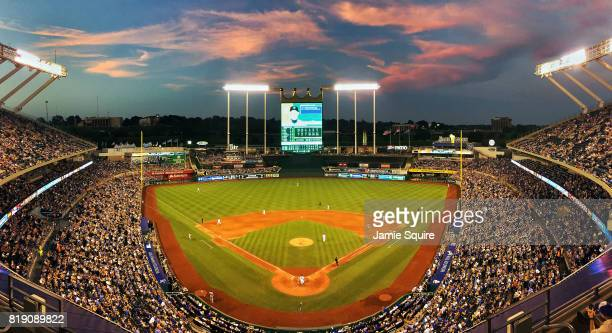A general view during the game between the Detroit Tigers and the Kansas City Royals at Kauffman Stadium on July 19 2017 in Kansas City Missouri