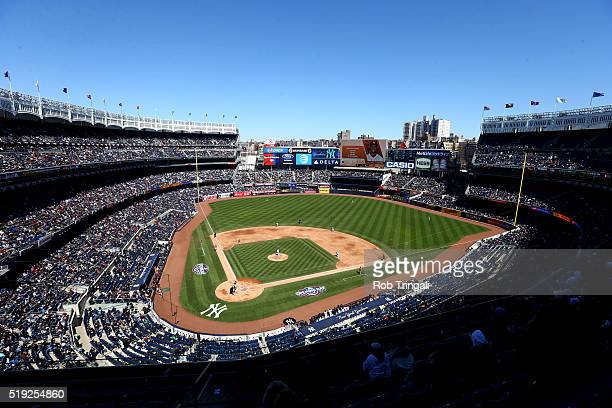 A general view during the game between the Houston Astros and the New York Yankees at Yankee Stadium on Tuesday April 5 2016 in the Bronx borough of...