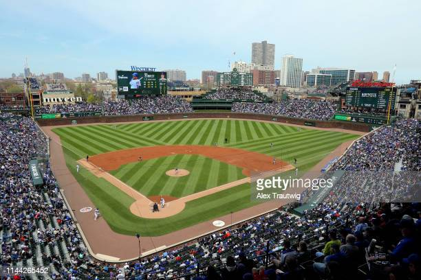 A general view during the game between the Los Angeles Dodgers and the Chicago Cubs at Wrigley Field on Thursday April 25 2019 in Chicago Illinois