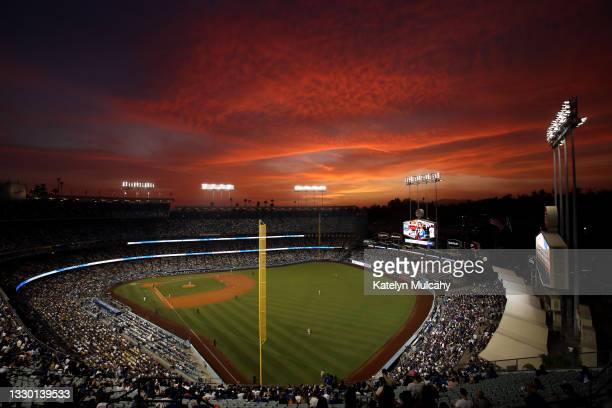 General view during the game between the Los Angeles Dodgers and the San Francisco Giants at Dodger Stadium on July 22, 2021 in Los Angeles,...