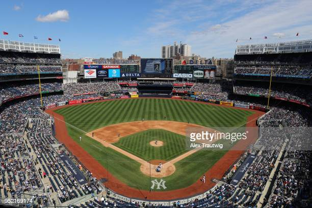 A general view during the game between the Minnesota Twins and the New York Yankees at Yankee Stadium on Thursday April 26 2018 in the Bronx borough...
