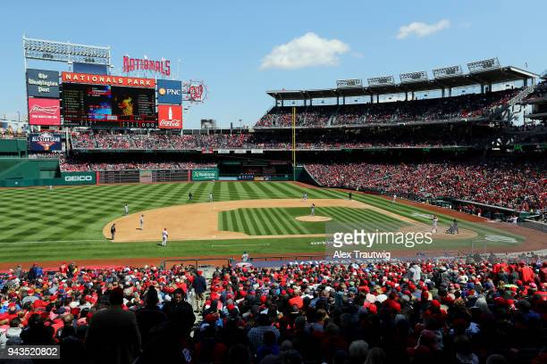 A general view during the game between the New York Mets and the Washington Nationals at Nationals Park on Thursday April 5 2018 in Washington DC