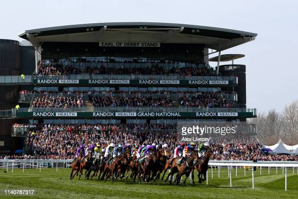 General view during the Gaskells Handicap Hurdle race during the Randox Health Grand National Handicap Chase at Aintree Racecourse on April 06, 2019...