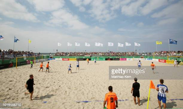 A general view during the German Beachsoccer League 3rd place match between Real Muenster and Hertha BSC Beachsoccer on August 19 2018 in Warnemunde...