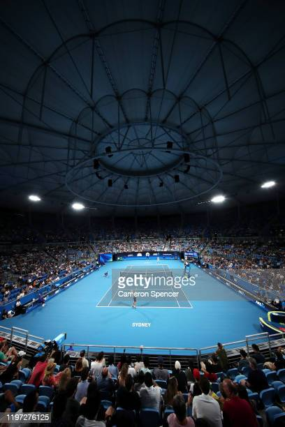 A general view during the Group C singles match between Cameron Norrie of Great Britain and Dimitar Kuzmanov of Bulgaria during day one of the 2020...