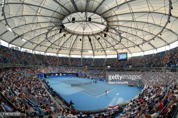 A general view during the group E singles match between Dennis Novak of Austria and Marin Cilic of Croatia during day two of the 2020 ATP Cup Group...