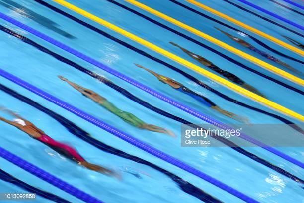 A general view during the heats of the women's 50m butterfly during the swimming on Day seven of the European Championships Glasgow 2018 at Tollcross...