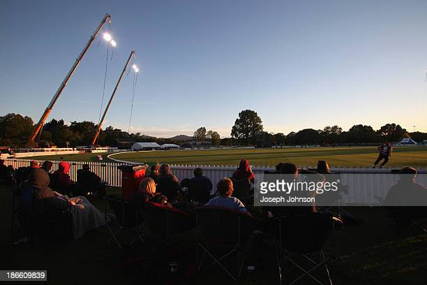 General view during the HRV Twenty20 match between Canterbury Wizards and Otago Volts at Hagley Oval on November 2 2013 in Christchurch New Zealand...