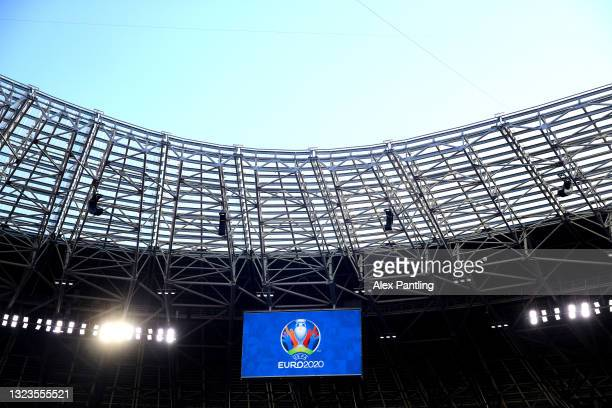 General view during the Hungary Training Session ahead of the Euro 2020 Group F match between Hungary and Portugal at Puskas Arena on June 14, 2021...