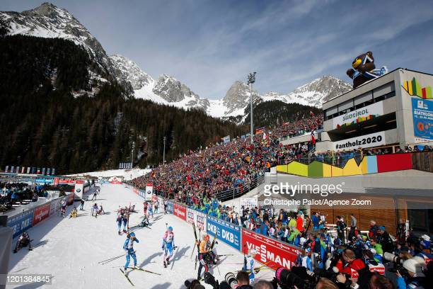 A general view during the IBU Biathlon World Championships Women's 10 km Pursuit Competition on February 16 2020 in Antholz Anterselva Italy