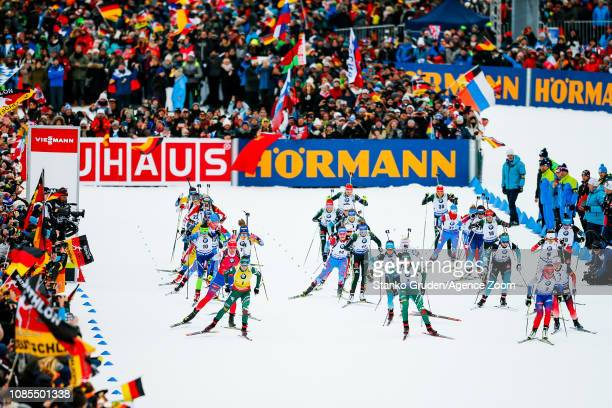 General view during the IBU Biathlon World Cup Men's and Women's Mass Start on January 20, 2019 in Ruhpolding, Germany.