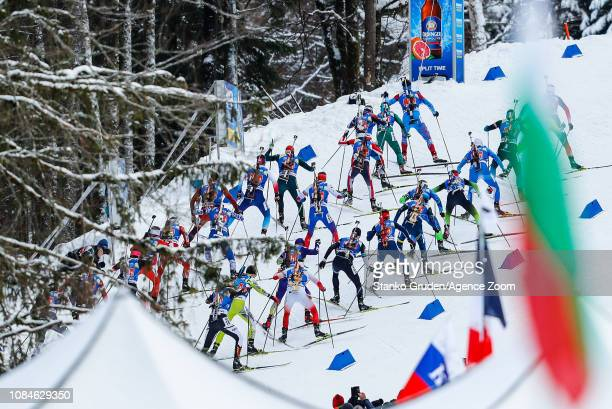 General view during the IBU Biathlon World Cup Men's Relay on January 18, 2019 in Ruhpolding, Germany.