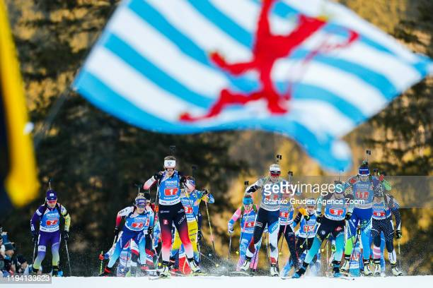 General view during the IBU Biathlon World Cup Women's 4 x 6 km Relay Competition on January 17, 2020 in Ruhpolding, Germany.