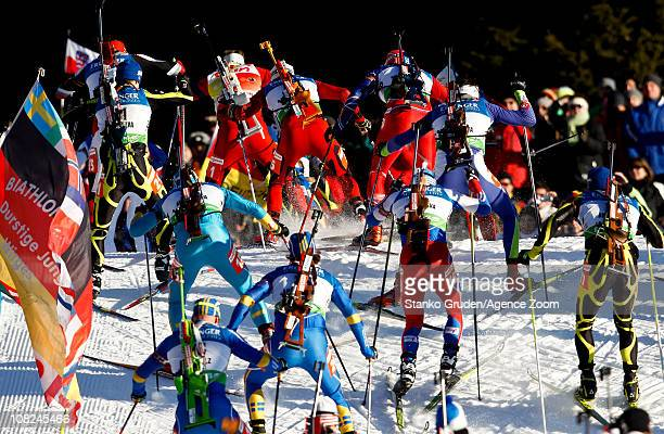 General view during the IBU World Cup Biathlon Men's 15 km Mass Start on January 22 2011 in AntholzAnterselva Italy