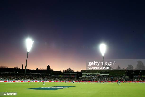 General view during the ICC Women's T20 Cricket World Cup match between Australia and Bangaldesh at Manuka Oval on February 27, 2020 in Canberra,...