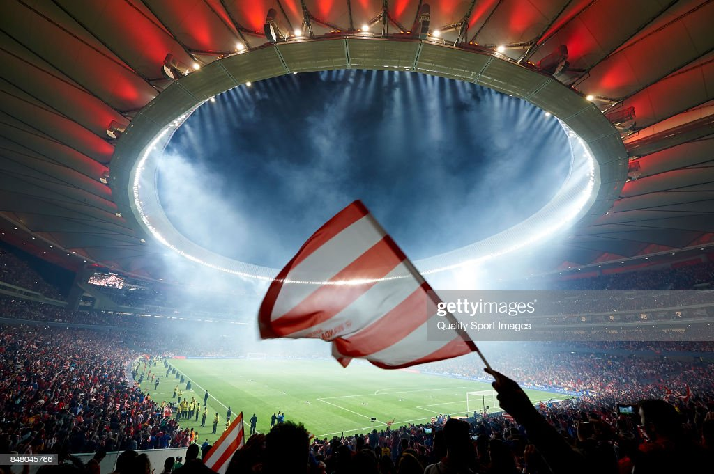 General view during the inauguration of the Wanda Metropolitano stadium after the end of the La Liga match between Atletico Madrid and Malaga at Wanda Metropolitano stadium on September 16, 2017 in Madrid, Spain.