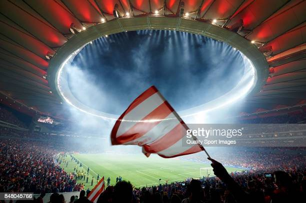 General view during the inauguration of the Wanda Metropolitano stadium after the end of the La Liga match between Atletico Madrid and Malaga at...