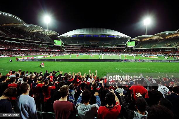 A general view during the international club friendly match between Adelaide United and Malaga CF at Adelaide Oval on July 25 2014 in Adelaide...