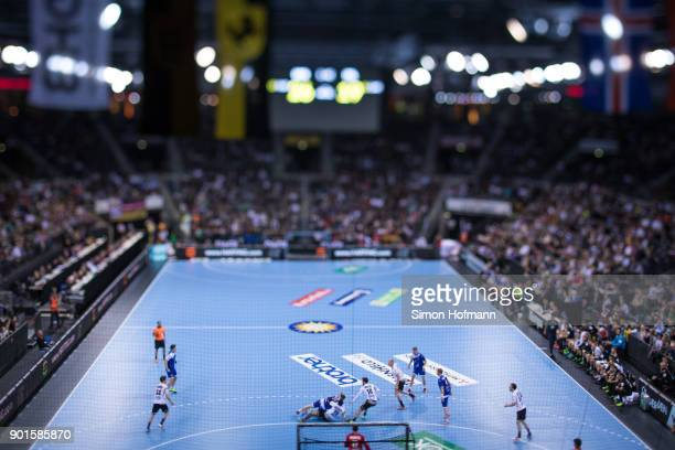 A general view during the International Handball Friendly match between Germany and Iceland at Porsche Arena on January 5 2018 in Stuttgart Germany